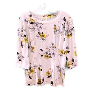 T.la Anthropologie White Pleated Floral Print Top